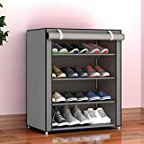 PYXBE Multipurpose Portable Folding Shoes Rack 4 Tiers Multi-Purpose Shoe Storage Organizer Cabinet Tower with Iron and Nonwoven Fabric with Zippered Dustproof Cover (4_Grey)(Shoes Rack for Home)