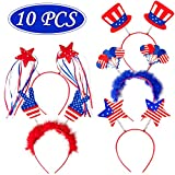 10PCS Patriotic Head Boppers Headband - Star Uncle Sam Hat Balloons- Fourth 4th of July Party...