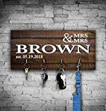 Gay Lesbian Wedding Gift for Couple, Personalized LGBT Wall Key Holder with Hooks