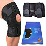 Knee Braces Meniscus Tear Support - Relieves PCL, ACL, LCL, MCL, Arthritis, Tendonitis Pain Non Slip Straps for Men & Women, Adjustable Open Patella Neoprene Dual Stabilizer with Gel Pad (Pair)