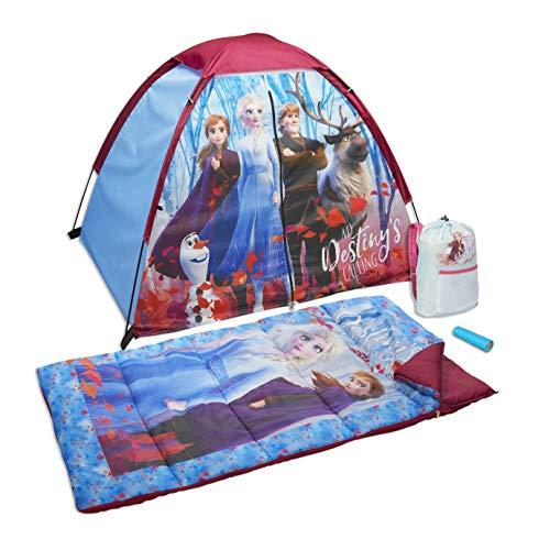 Disney Frozen2 - 4Pc Camp Set w/Tent, Sleeping Bag, Backpack, Flashlight