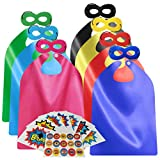 ADJOY Superhero Capes and Masks for Kids Birthday Party - DIY Dress Up Costumes - 6 Sets Pack (Mixed Color)