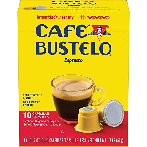 Caf Bustelo Coffee Espresso Dark Roast Coffee, 40 Count Capsules for Espresso Machines, 11 Intensity