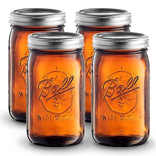 Ball Amber Glass Wide Mouth Mason Jars (32 oz/ Quart ) 4 Pack. With Airtight lids and Bands - Amber Canning Jar - UV light Protection - Microwave & Dishwasher Safe. + SEWANTA Jar Opener
