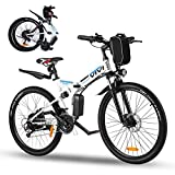 Vivi26'FoldingElectricBike,350WElectricMountainBike,AdultsEbikewithRemovable36V8AhBattery,Shimano21SpeedElectricBikesforAdults,DoubleShockAbsorption,20MPH Electric Bicycle(White)