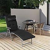 SONGMICS Sonnenliege klappbar Liegestuhl mit 6 cm Dicker Matratze abnehmbares Kopfkissen aus rostfreiem Aluminium - 7