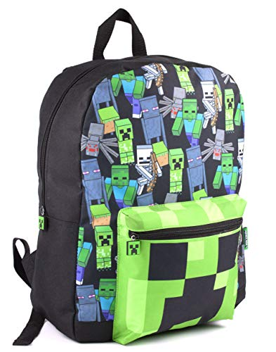 Minecraft All Over Print Kids Black Backpack Boys School Rucksack (One Size)