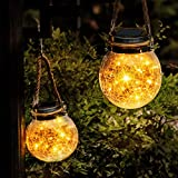 Solar Lantern,2 Pack 30 LED Hanging Glass Jar Solar Lights Outdoor Waterproof Glass Lantern Table Lamps Great Outdoor Lawn Décor for Patio Garden, Yard and Lawn. (Warm White Light)