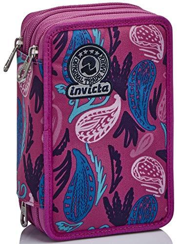 Astuccio 3 Scomparti Invicta , Paisley, Rosa, Completo di matite, penne, pennarelli