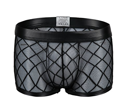 Kwelt Herren Unterhose Mesh Transparent Boxershorts Strings Netz Unterwäsche Transparent Bikini Slips Shorts Pants, Gr.-Asien 2XL / EU L,Schwarz
