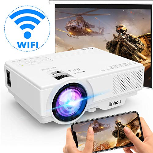 [WiFi Beamer] Beamer, Wireless Beamer 5000 Lux Unterstützt 1080P Full HD, Native 720P WiFi Projektor Kompatibel mit Smartphone Tablet TV Stick Spielekonsole HDMI VGA USB TF AV, Heimkino Beamer, Weiß.