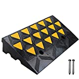 ScinoTec Rubber Curb Ramps 4 Inch Rise 1 Pack 16 Ton Load Capacity Kerb Ramp for RV Loading Dock Cart Garage Warehouse Curbside Bridge Sidewalk Driveway(23.6 X 12.6 X 4 Inch, 1 Pack-Curb Ramp)