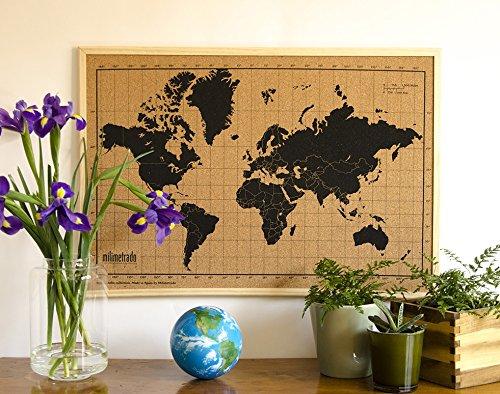 Milimetrado – Carte du Monde Tableau en liège/Carte du Monde Poster...