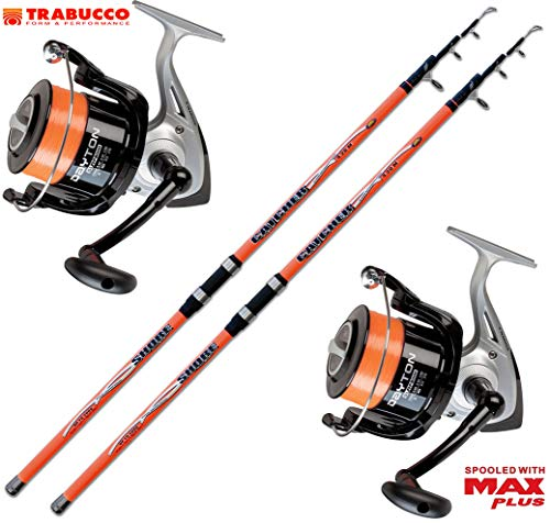 Evo Fishing Kit 2 pz Canna Surfcasting Catcher 420 + 2 PZ Mulinello Trabucco Dayton 8000