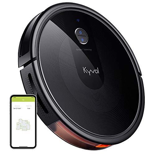 KYVOL Aspirateur Robot 2200Pa, Navigation Intelligente, 150Mins Autonomie, 600ML Capacité, Silencieux, Wi-Fi & App & Alexa, Carpet Boost, pour Tapis, Sol Dur, Poil Animaux, Noir