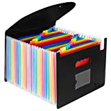 Uquelic Ampliable Carpetas Plastico- A4 Carpeta Clasificadoras de Espacio Grande con 24 Bolsillos File Organizer con Tapa de Oficina en Hogar de Documentos de Archivos de Acordeón