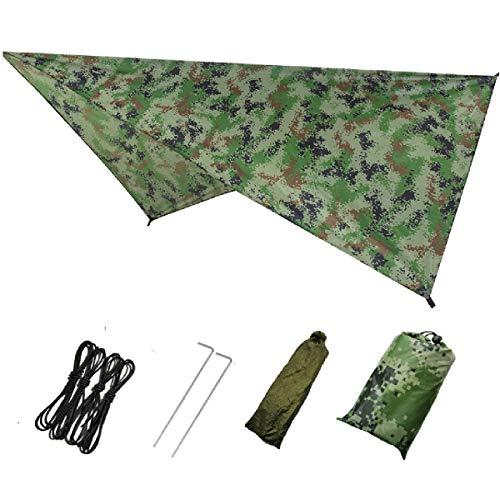 Azarxis wasserdichte Zeltplane, Tarp für Hängematte, Leicht und Kompakt, Regenschutz Sonnenschutz für Outdoor Camping Zelt (Tarnung)