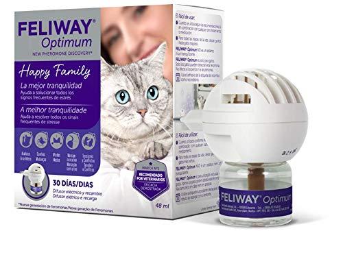 FELIWAY Optimum - Nueva Generación de Feromonas - Soluciona todos los signos de estrés del gato - Arañazos, miedos, cambios, marcaje con orina, conflictos entre gatos - Difusor + Recambio 48ml