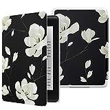 MoKo Kindle Paperwhite E-reader (10a Generazione, 2018 Rilascio) Case, Custodia Ultra Sottile Leggero per Amazon Kindle Paperwhite 2018 - Nero & Bianco Magnolia