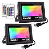 Ustellar 2 Pack 60W RGB LED Flood Lights Outdoor Muticolor Led Color Changing Floodlights with Remote Control IP66 Waterproof 16Colors 4Modes RGB Wall Lights Outside for Decoration Stage Lights