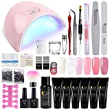 Saint-Acior 36W LED UV Nail Dryer Curing Lamp and 6Pcs Poly Nail Gel Top And Base Coat Kit Nail Extension False Nail Tips Kit