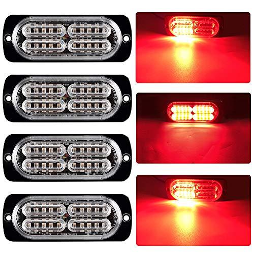 yifengshun 4X 20LED Rosso Luci Led auto 12-24V Luci Stroboscopiche Emergenza per Auto Camion per...