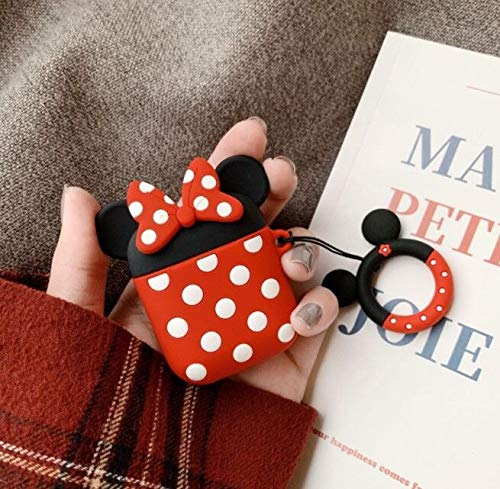 Cocomii 3D Disney AirPods Custodia, Sottile Opaco Morbido TPU Silicone Anello Portachiavi Personaggi Disney 3D Cartone Animato Moda Case Bumper Cover Paraurti for AirPods (Minnie)