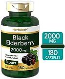 Horbaach Black Elderberry Capsules 2000mg | 180 Pills | Immune Support | Non-GMO, Gluten Free | Sambucus Extract Supplement