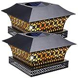 Siedinlar Solar Post Lights Outdoor Fence Deck Cap Light Solar Powered Metal Warm White LED Lighting Waterproof for Garden Patio Decoration 5x5 or 6x6 Wooden Posts Black (2 Pack)