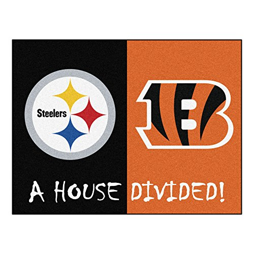 FANMATS 18687 NFL House Divided Steelers/Bengals House Divided Mat