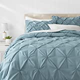 AmazonBasics Pinch Pleat Comforter Bedding Set, Full / Queen, Spa Blue