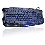 BlueFinger LED Gaming Keyboard,Mechanical Feeling USB Wired Computer Keyboard,114 Keys Letters Glow,3 Color Blue/Red/Purple Led Backlit Keyboard for Laptop PC Computer Game Work