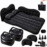 Zento Deals Inflatable Car Air Mattress – Camping Bed Back Seat Mattress – Portable Travel Bed with Pillows – Travel Camping Sleeping Outdoor Bed – Universal Car SUV Truck and RV