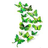 TUPARKA 36 Pièces 3D Papillon Stickers Muraux Mur Papillons Filles Accessoires De Chambre À Coucher, Vert