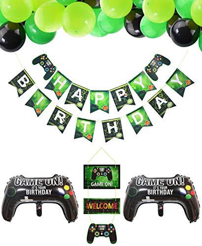PIXHOTUL Suministros para Fiestas de Videojuegos Happy Birthday Gaming Banner, Decoración Colgante de Bienvenida y Globos Temáticos de Jugador de 32 Piezas para Fiesta de Cumpleaños de Niños