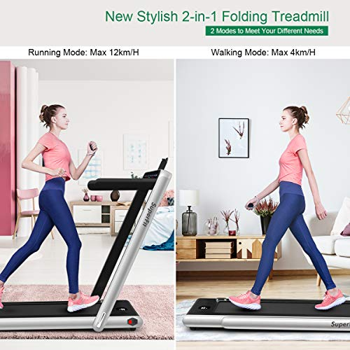 GYMAX 2 in 1 Under Desk Treadmill, 2.25HP Folding Walking Jogging Machine with Dual Display, Bluetooth Speaker & Remote Controller, Electric Motorized Treadmill for Home/Gym (Silver) 2