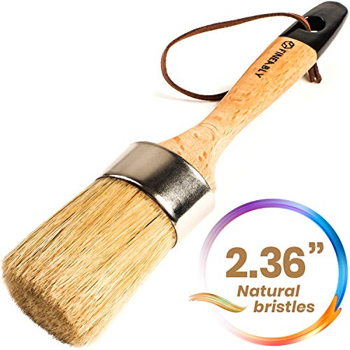 Chalk Paint Wax Brush by Fineably  with 100% Natural Bristles and Ergonomic Wood Handle for Intricate Textures, Brush Strokes and Finishes on Refurbished Furniture  Cleans Easily with Soap and Water