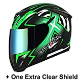 1STorm Motorcycle Full Face Helmet Star King Matt Green+ One Extra Clear Shield, Size Small(53-54 CM,20.9/21.3 Inch)