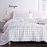 Andency White Grid Comforter Set Queen Size (90x90 Inch), 3 Pieces(1 Grid Comforter and 2 Pillowcases), Microfiber Down Alternative White Comforter with Black Lines