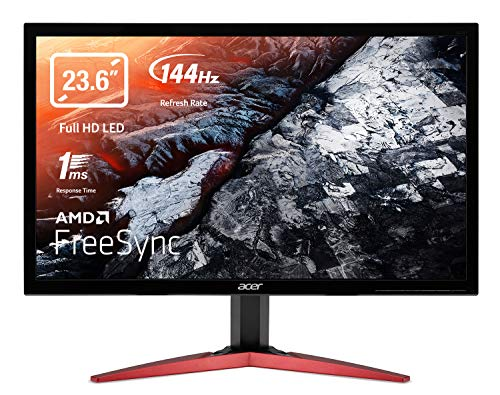 Acer KG241QSbiip Monitor Gaming FreeSync, 23,6', Display Full HD, 144 Hz, 165 Hz Overclock, 1 ms, 16:9, HDMI 2.0, DP 1.2, Lum 300 cd/m2, Cavo HDMI Incluso, Nero