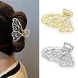 Runmi Lot de 2 grandes pinces à cheveux en métal en forme de papillon pour femmes...