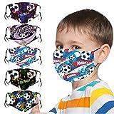 5 Stück Mundschutz Kinder Multifunktionstuch 3D Cartoon Druck Maske Animal Print Atmungsaktive Baumwolle Stoffmaske Waschbar Mund-Nasenschutz Bandana Halstuch für Jungen Mädchen (K3)