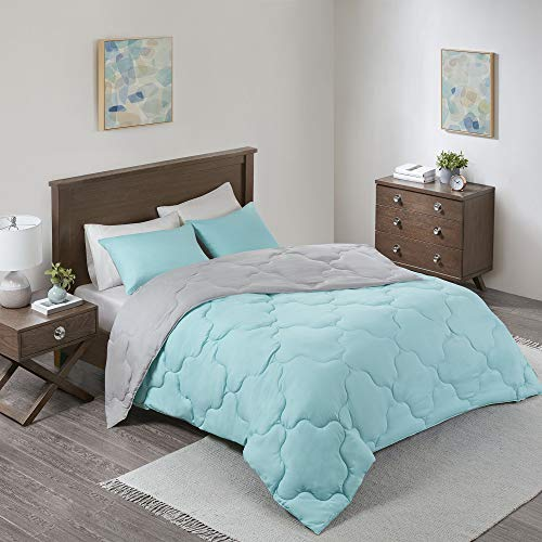 Comfort Spaces Vixie 2 Piece Comforter Set All Season Reversible Goose Down Alternative Stitched Geometrical Pattern Bedding, Twin/Twin XL, Aqua/Grey