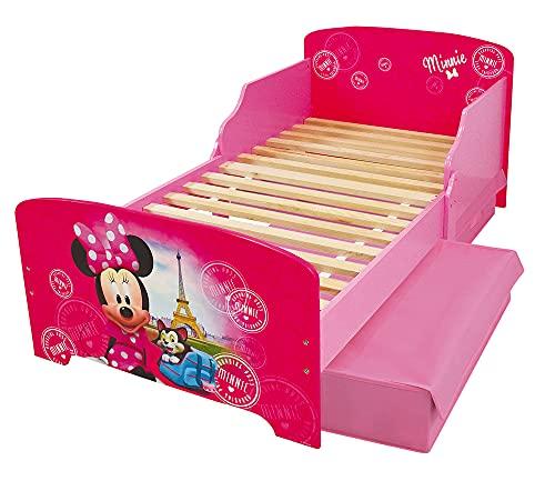 Fun House Disney Minnie Paris Letto 140 x 70 cm con doghe con 2 cassetti portaoggetti per bambini, MDF, rosa