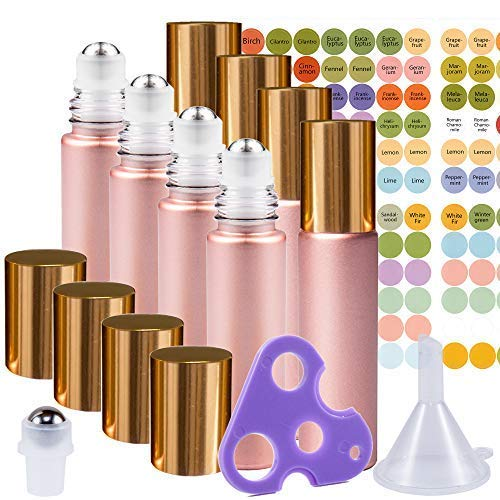 Rose Gold Ultimate Essential Oil Roller Bottles Set with Stainless Steel Balls, 8 Pack 10ml Leakproof Glass Bottle with 9 Rollerballs for Perfume & Aromatherapy Oils 1 Funnel + Opener & 192 Labels
