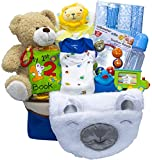 Joyful Arrival Deluxe Baby Gift Set (Girl or Boy) - Diaper Organizer, Baby Clothes & More (with Toys, Boy)