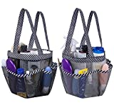 Attmu 2 Pack Portable Mesh Shower Caddy Dorm with 8 Mesh Storage Pockets, Quick Dry Waterproof Shower Tote Bag Oxford, Black and Grey Strip