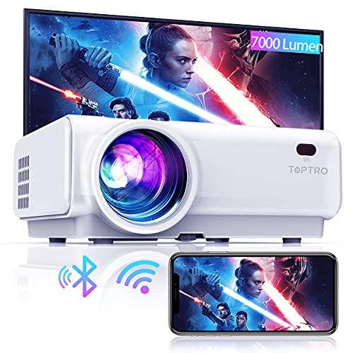 TOPTRO Mini Beamer, 7000 Lumen, WiFi Bluetooth Beamer Projektor, Support 1080P Full HD, mit HiFi-Lautsprecher, kompatibel mit TV-Stick/Handy/Laptop/DVD/PS4/SD/AV (Weiß)