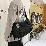 Tooling Messenger Bag Bolso De Hombro Masculino Bolso De Escuela Para Estudiantes Bolso De Hombro De Calle Hip Hop Mochila Femenina Largo 47cm ancho 17cm alto 27cm negro