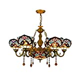 BAYCHEER Victorian Tiffany Lamp 7 Lights Stained Glass Dome Chandelier 32.68' Victorian Pendant Light Hanging Lamp Chain Adjustable Gorgeous Lighting in Blue